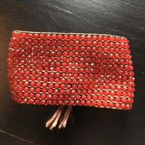 Nakamol Red Swarovski Crystal Macrame Bracelet